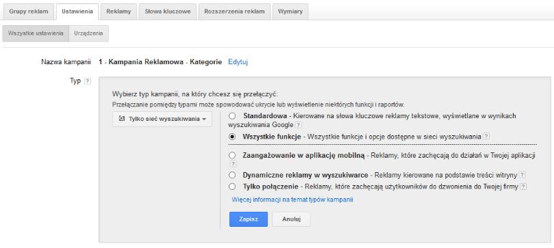 Wszystkie funkcje w Adwords