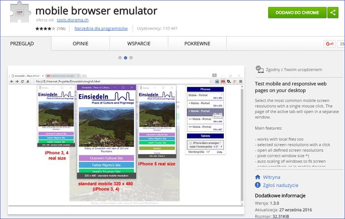 Emulator wersji mobilnej do przeglądarki