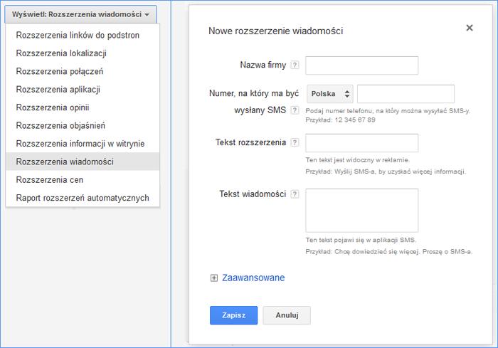 Rozszerzenie wiadomości SMS Google Adwords