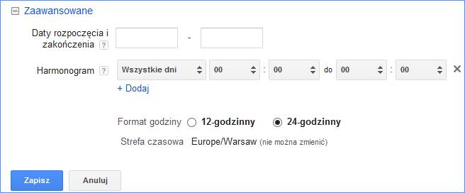 Rozszerzenie wiadomości SMS Google Adwords - harmonogram emisji