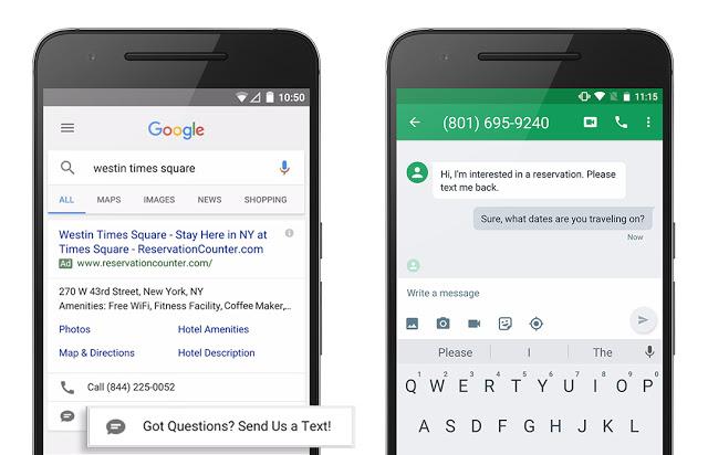 Rozszerzenie SMS w Googl Adwords