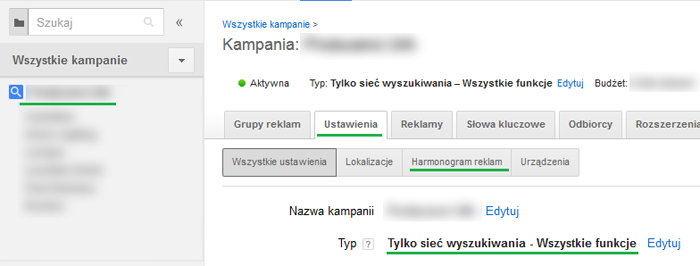 Harmonogram reklam w Google Adwords