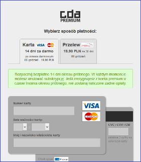 Płatność za konto premium na CDA.pl