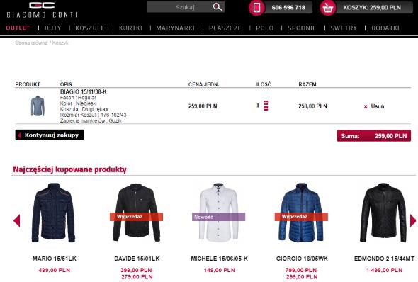 Analiza koszyka sklepu internetowego Giacomo Conti