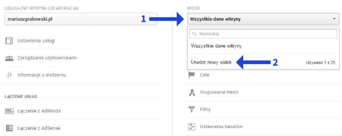 Utwórz nowy widok w Google Analytics
