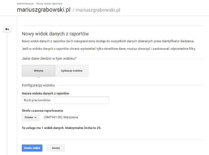 Tworzenie nowego widoku w Google Analytics