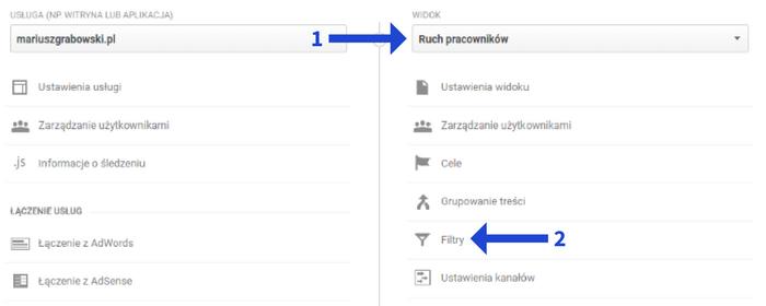 Tworzenie filtra nowego widoku w Google Analytics