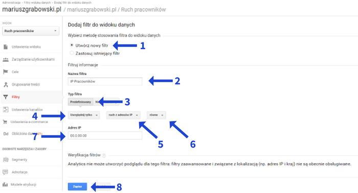 Filtr na uwzględnienie IP w Google Analytics