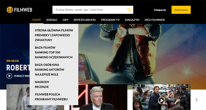 Filmweb - nowe menu nawigacyjne