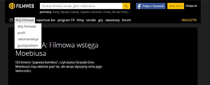 Filmweb - stare menu nawigacyjne