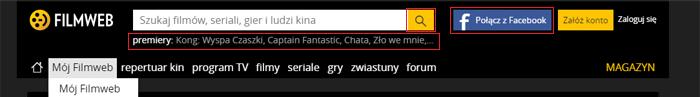 Zmiany w menu na Filmweb