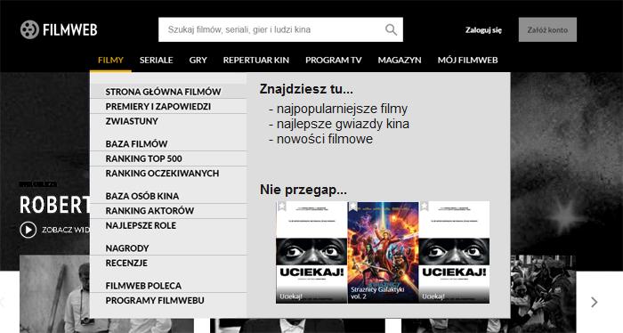 Filmweb - propozycja nowego menu