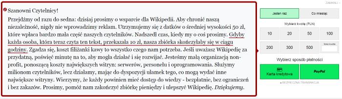 Zbiórka na Wikipedii - nieudolny komunikat