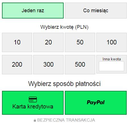 Zbiórka na Wikipedii - panel płatności