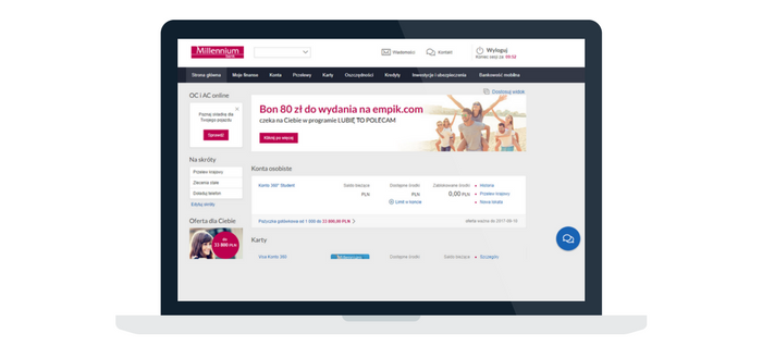 Bank Millennium - strona główna rachunku
